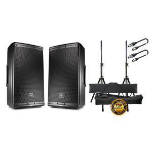 JBL Eon 612 (Coppia) Impianto Audio DJ 1000 W Stativi Cavi