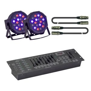 Soundsation Par-181r Kontrol Mini Set - Kit 2 Par con Centralina e Cavi Dmx
