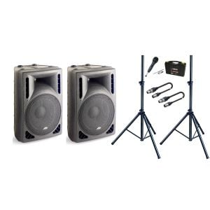 Impianto Audio 2 Diffusori Amplificati / 1 Microfono / 2 Supporti / 2 Cavi XLR/XLR 5mt Bundle
