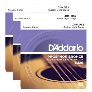 D'ADDARIO EJ26 - 3 Mute per Acustica Phosphor Bronze Custom Light (011/052)