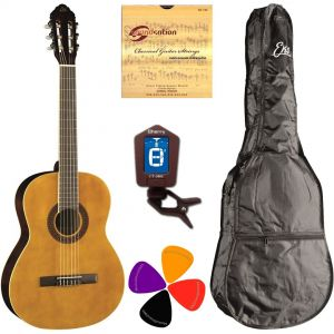 EKO CS10 Set Chitarra classica 4/4 Kit Accordatore Custodia Plettri e Corde