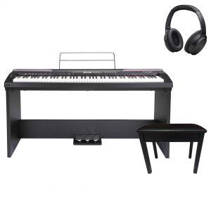 Medeli SP3000 Home Set Pianoforte Digitale Nero 88 Tasti con Supporto Pedaliera e Accessori