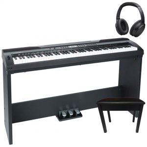 Medeli SP4000 Home Set Pianoforte Digitale Nero 88 Tasti con Supporto Pedaliera e Accessori