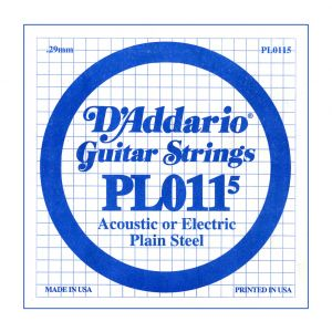 D'ADDARIO PL0115 - Singola per Acustica o Elettrica Plain Steel (0115)