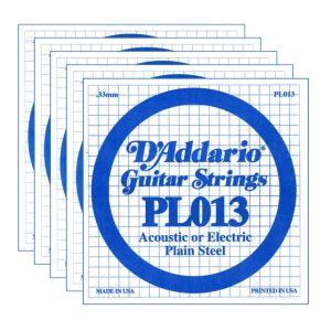 D'ADDARIO PL013 - Set di 5 Singole per Acustica o Elettrica Plain Steel (013)