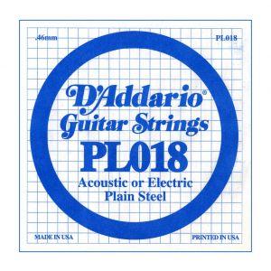 D'ADDARIO PL018 - Singola per Acustica o Elettrica Plain Steel (018)