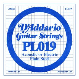 D'ADDARIO PL019 - Singola per Acustica o Elettrica Plain Steel (019)