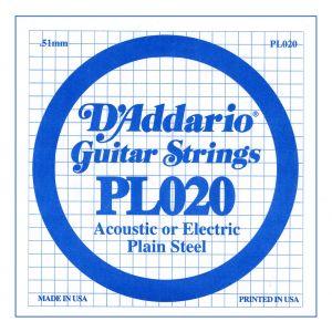 D'ADDARIO PL020 - Singola per Acustica o Elettrica Plain Steel (020)