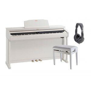 ROLAND HP504 WH Pianoforte Digitale con Mobile Bianco / Cuffie Monitor Professionali / Panchetta Regolabile