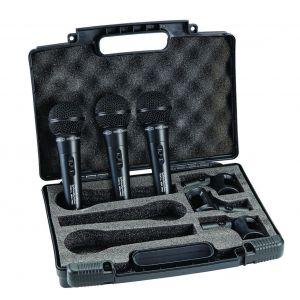 Set 3 Microfoni Dinamici Professionale per Karaoke canto e DJ con Valigetta