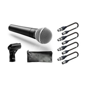 SHURE Set 4 Microfoni Shure SM 58 / 4 Cavi Audio XLR/XLR 5mt Bundle