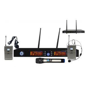 Karma Set Trio Radiomicrofono Microfono Palmare / Archetto / Lavalier con Display Digitale UHF