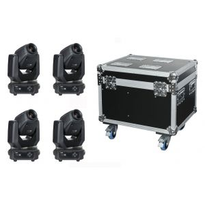 Showtec 4 x Phantom 65 Spot con Flight Case