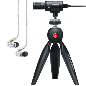 Shure Motiv MV88+ Video Kit con Auricolari Trasparenti SE215 Clear