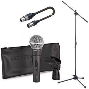 Shure SM58SE Pack Microfono per Canto con Asta e Cavo