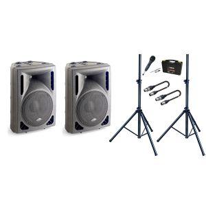 Sistema Audio Completo di 2 Casse Attive / 1 Microfono Dinamico / 2 Stativi / 2 Cavi XLR/XLR 5mt Bundle