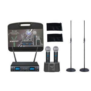 ZZIPP Set Radiomicrofono Palmare UHF / Stazione di Ricarica / Asta Microfono