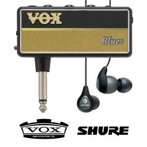 Vox Amplug 2 Blues con Shure SE112 Grigi