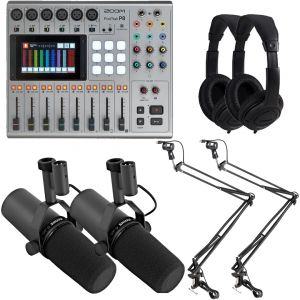 Zoom PodTrak P8 Bundle Registratore / 2 Shure SM7B Microfono / 2 Aste / 2 Cuffie
