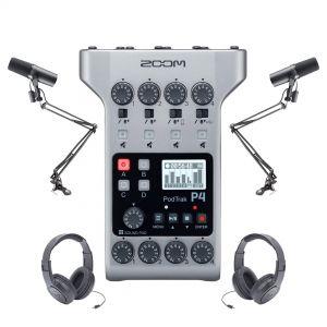 Zoom Kit Podcast con PodTrak P4, 2 Shure SM7B, 2 Cuffie e 2 Aste