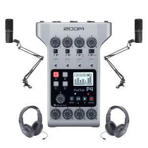 Zoom Kit Podcast con PodTrak P4 Microfoni Cuffie e Aste