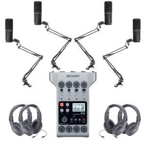 Zoom Kit Podcasting con PodTrak P4 Microfoni Cuffie e Aste