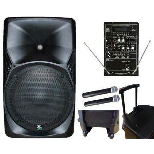 ZZIPP ZZPB15 Impianto Cassa Amplificata Portatile 180w / 2 Radiomicrofoni, mp3, Bluetooth