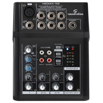 Soundsation Neomix 102 - Mixer Audio Passivo 3 Canali 7 Ingressi Ultra Compatto