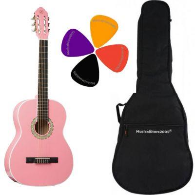 Chitarra Classica 4/4 Pink, Borsa con Tasca e Tracolla e Plettri Inclusi