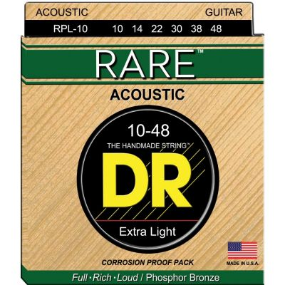 DR Strings RPL10 Corde Rare Phosphor Bronze 10-48
