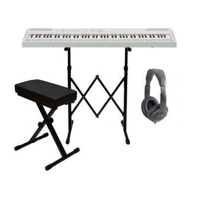 Roland FP30WH Set - Pianoforte Digitale Bianco / Cuffie / Stand / Panchetta