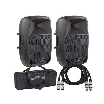 Impianto Audio DJ e Karaoke Amplificato (Coppia) con Cavi e Borsa