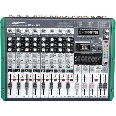 ZZIPP ZZMX12R Mixer Audio DJ e Karaoke 12 Canali con Recording