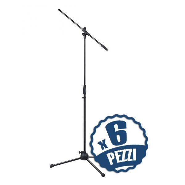 Set di 6 Aste Microfoniche a Giraffa Regolabili Asta Microfono