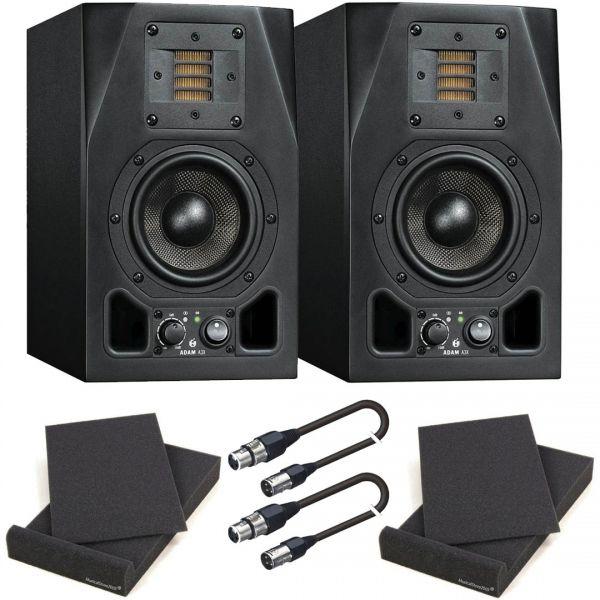 Adam A3X Coppia Monitor da Studio Attivi con Pad Isolante e Cavi XLR