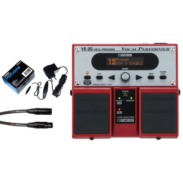 BOSS VE20 Processore per Voce / Alimentatore / Cavo Microfonico XLR/XLR 4.5mt