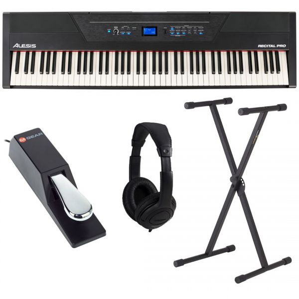 Alesis Recital Pro Pianoforte Digitale 88 Tasti + Pedale SP2 + Supporto + Cuffia