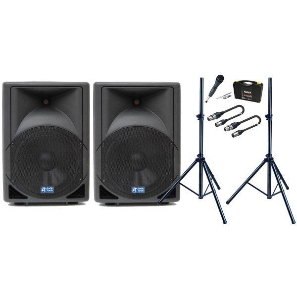 Diffusori amplificati da 260W Bundle Microfono Dinamico / Stativi / Cavi