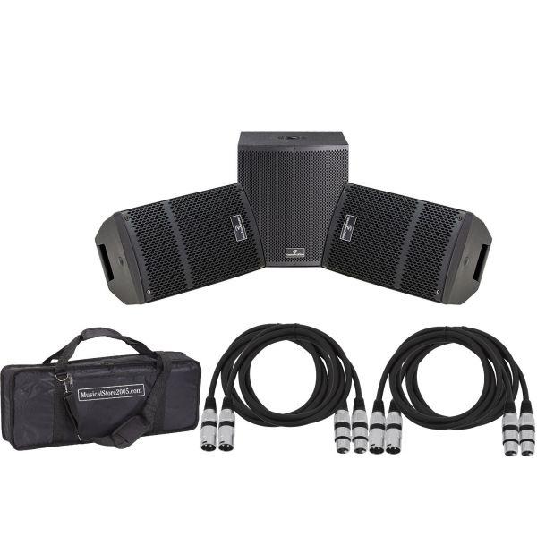 Soundsation Impianto Audio DJ Completo 1300W - Coppia Diffusori Amplificati/Subwoofer/Cavi/Borsa