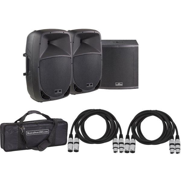 Soundsation Set Sistema Audio DJ Completo 2960W - Speaker Bi-amp/Sub/Cavi/Borsa