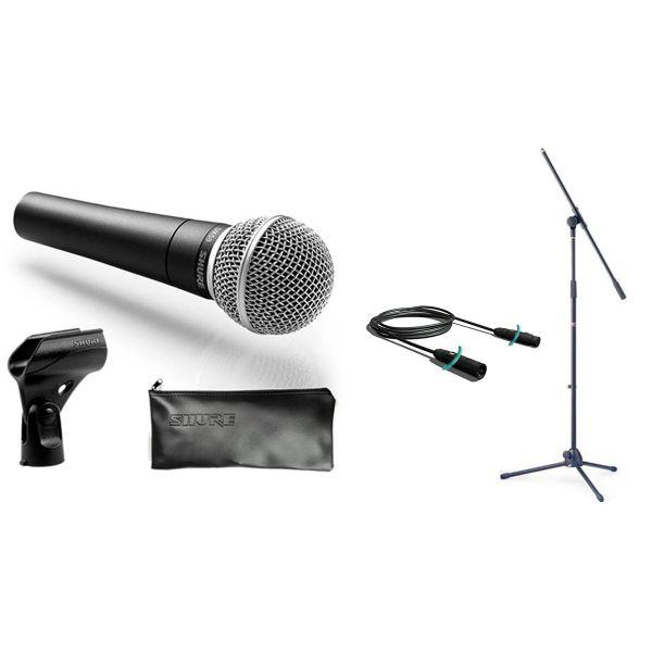 Set Microfono Shure SM58 / Asta Microfonica a Giraffa / Cavo XLR/XLR
