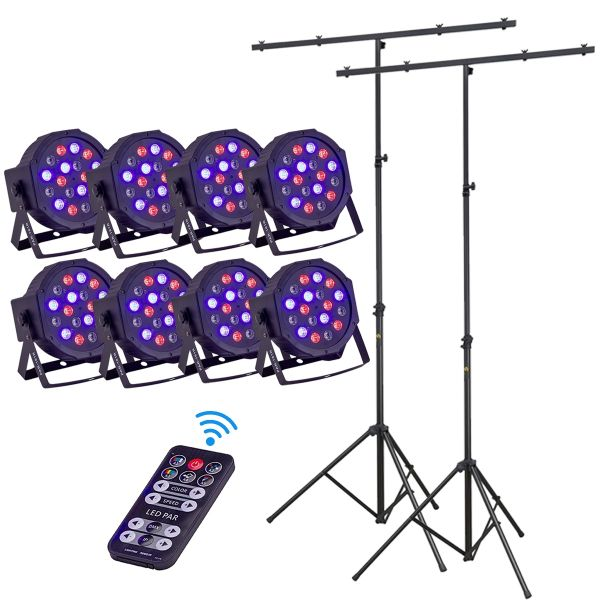 Soundsation Par-181r Movers Set - Kit 8 Par con Telecomando Wireless e 2 Aste Luci