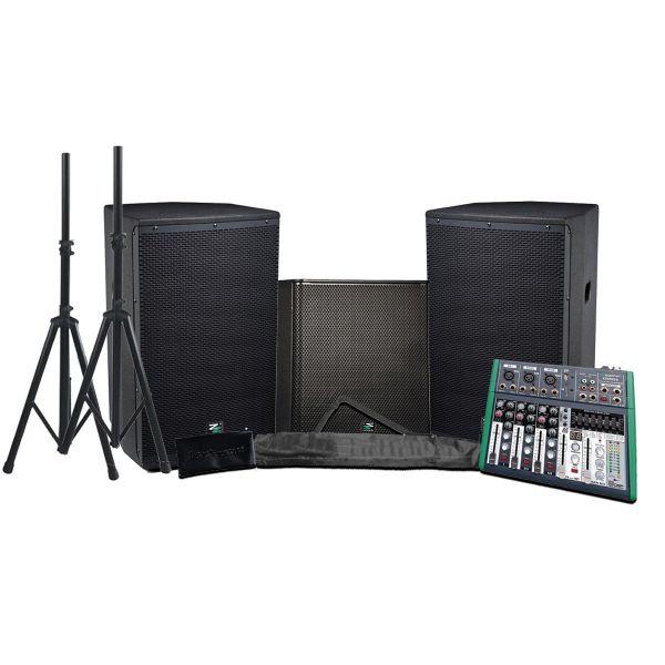 ZZIPP Impianto Audio Completo 2300W Casse Attive / Subwoofer / Mixer / Stativi Bundle