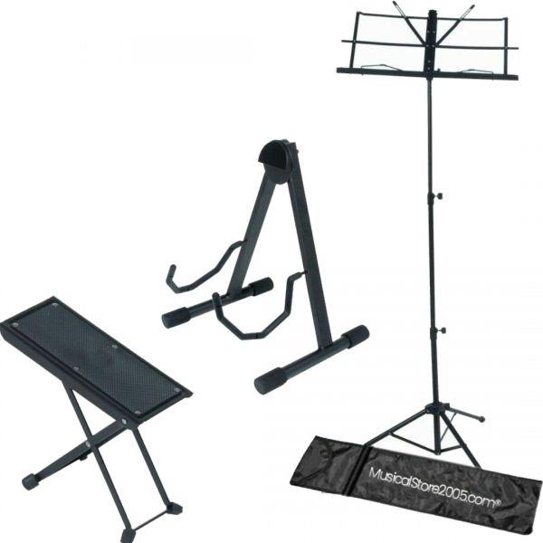 Kit Accessori Chitarristi: Leggio Musicale Poggiapiedi Supporto per Chitarra