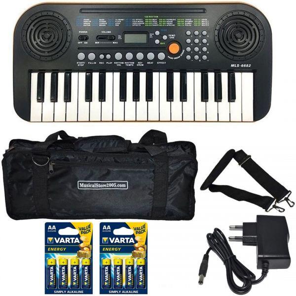 Miles MLS-6682 Bundle Tastiera 32 Tasti Scolastica con Borsa Alimentatore e Batterie
