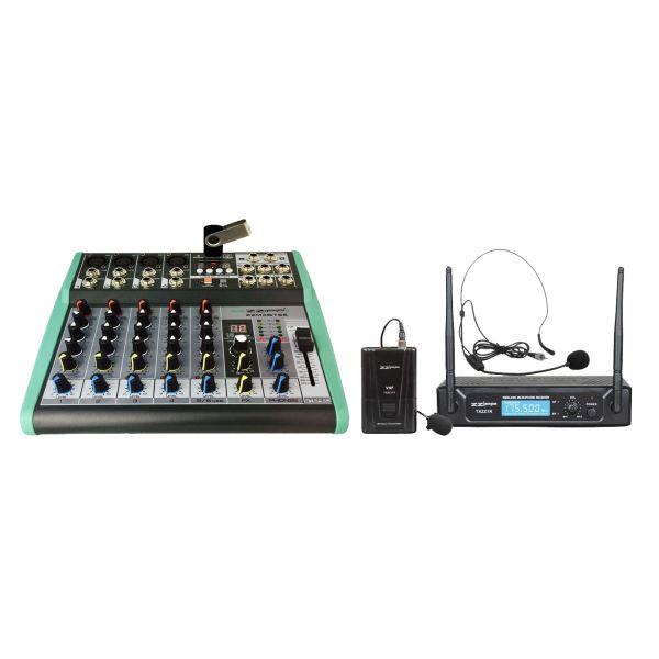 ZZIPP Mixer DJ e Karaoke 6Ch, MP3, DSP Bluetooth Microfono wireless Archetto