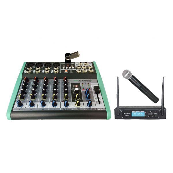 ZZIPP KIT Mixer DJ e Karaoke 6Ch, MP3, DSP e Bluetooth / Radiomicrofono Gelato