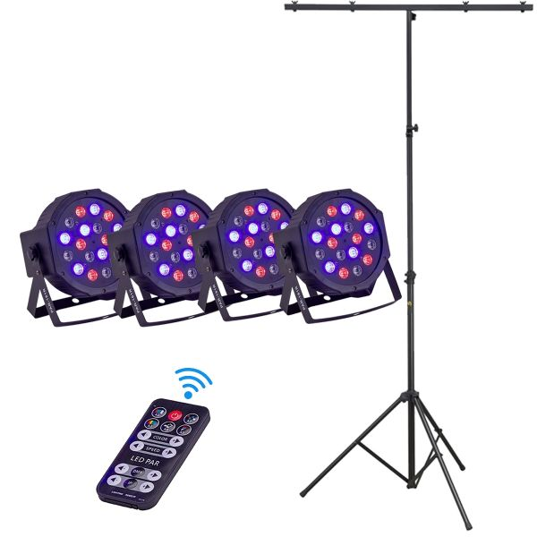 Soundsation Par-181r Starter Set - Kit 4 Par con Telecomando Wireless e Asta Luci