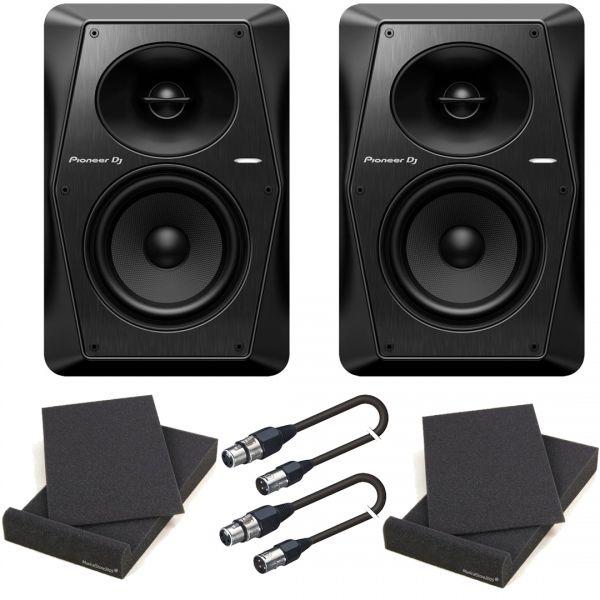 Pioneer VM-50 Black Bundle Studio Monitor Attivi (Coppia)/Pad Isolante/Cavi XLR