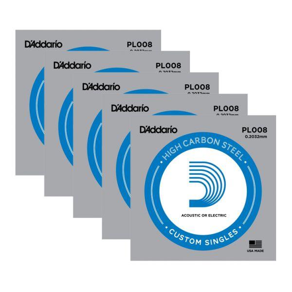 D'ADDARIO PL008 - Set di 5 Singole per Acustica o Elettrica Plain Steel (008)